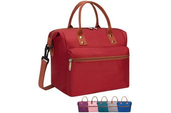 (Wine Red) - Leakproof Insulated Lunch Tote Bag with Adjustable & Removable Shoulder Strap, Durable Reusable lunch Box Container for Women/Men/Kids/Picnic/Work/School-Wine Red