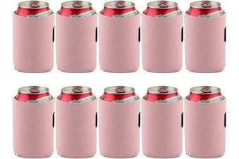 (Pink) - Bluecell 10pcs Standard 350ml Beer Can Sleeves Blank Neoprene Insulated Beer Can Coolers, Premium Quality Soft Drink Collapsible Insulators (Pink)