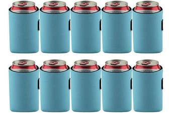 (Light Blue) - Bluecell 10pcs Standard 350ml Beer Can Sleeves Blank Neoprene Insulated Beer Can Coolers, Premium Quality Soft Drink Collapsible Insulators (Light Blue)