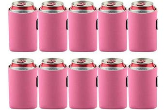 (Light Hot Pink) - Bluecell 10pcs Standard 350ml Beer Can Sleeves Blank Neoprene Insulated Beer Can Coolers, Premium Quality Soft Drink Collapsible Insulators (Light Hot Pink)