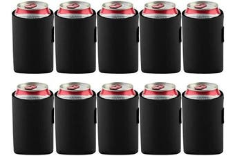 (Black) - Bluecell 10pcs Standard 350ml Beer Can Sleeves Blank Neoprene Insulated Beer Can Coolers, Premium Quality Soft Drink Collapsible Insulators (Black)