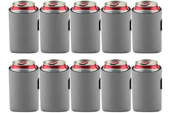 (Gray) - Bluecell 10pcs Standard 350ml Beer Can Sleeves Blank Neoprene Insulated Beer Can Coolers, Premium Quality Soft Drink Collapsible Insulators (Grey)