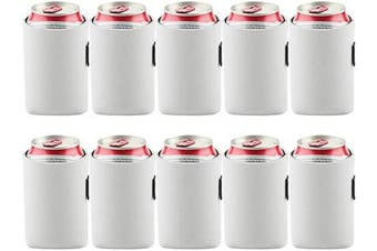 (White) - Bluecell 10pcs Standard 350ml Beer Can Sleeves Blank Neoprene Insulated Beer Can Coolers, Premium Quality Soft Drink Collapsible Insulators (White)