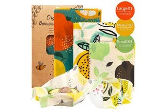 (1-orange 6pcs) - OrgaWise Reusable Beeswax Food Wrap Set of 6,Organic Cotton Bees Wax Wraps for Food Storage,Washable Eco Friendly Plastic Free Bowl Cheese Cover Sandwich Wrapper for Vegetable and Bread