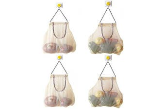 (Khaki) - Reusable Hanging Storage Mesh Bags - Hatisan Durable & Strong Fruit and Vegetable Mesh Bags/Pulling resistance Storage Tote Bags for Garlics, Potatoes, Onions or Garbage Bag-Clear(4Pcs)
