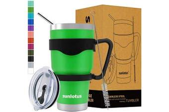 (890ml, Green) - Sunlotus 890ml Stainless Steel Tumbler Double Wall Vacuum Insulated Travel Coffee Mug,Cup with Splash Proof Lid,Straw,Handle,Straws Brush