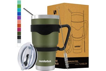 (890ml, Army Green) - Sunlotus 890ml Stainless Steel Tumbler Double Wall Vacuum Insulated Travel Coffee Mug,Cup with Splash Proof Lid,Straw,Handle,Straws Brush