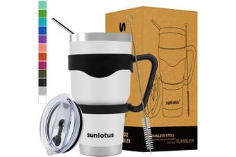 (890ml, White) - Sunlotus 890ml Stainless Steel Tumbler Double Wall Vacuum Insulated Travel Coffee Mug,Cup with Splash Proof Lid,Straw,Handle,Straws Brush
