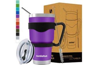 (890ml, Purple) - Sunlotus 890ml Stainless Steel Tumbler Double Wall Vacuum Insulated Travel Coffee Mug,Cup with Splash Proof Lid,Straw,Handle,Straws Brush