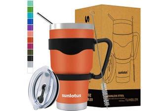 (890ml, Orange) - Sunlotus 890ml Stainless Steel Tumbler Double Wall Vacuum Insulated Travel Coffee Mug,Cup with Splash Proof Lid,Straw,Handle,Straws Brush