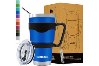 (890ml, Navy Blue) - Sunlotus 890ml Stainless Steel Tumbler Double Wall Vacuum Insulated Travel Coffee Mug,Cup with Splash Proof Lid,Straw,Handle,Straws Brush