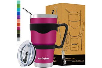 (890ml, Rose Red) - Sunlotus 890ml Stainless Steel Tumbler Double Wall Vacuum Insulated Travel Coffee Mug,Cup with Splash Proof Lid,Straw,Handle,Straws Brush