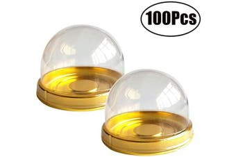 (A - Round Gold 5.1cm  100Pcs) - 100 Pcs Mini Cupcake Container with Clear Dome 5.1cm Transparent Plastic Muffins Cheese Pastry Dessert Mooncake Display Holder for Wedding Birthday Party (Gold)