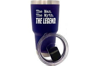 (Man Myth Legend Navy 30 oz) - Funny 890ml Stainless Steel Tumbler for Men (Man Myth Legend Navy)