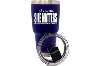 (Size Matters Navy 30 oz) - Funny 890ml Stainless Steel Tumblers for Men - (Size Matters Navy)