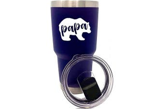 (Papa Bear Navy 30 oz) - Funny 890ml Tumblers for Dad, Grandfather, Papa Bear - (Papa Bear Navy)