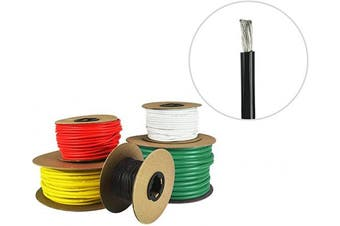 (5.5m (Coiled), Black) - 8 AWG Marine Wire - Tinned Copper Boat Battery Cable - Available in Black, Red, Yellow, Green, and White - Made in The USA