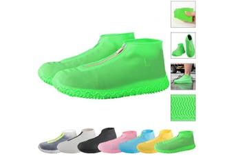 (Medium, Green) - ATOFUL Reusable Silicone Waterproof Shoe Covers, Silicone Shoe Covers with Zipper No-Slip Silicone Rubber Shoe Protectors for Kids,Men and Women