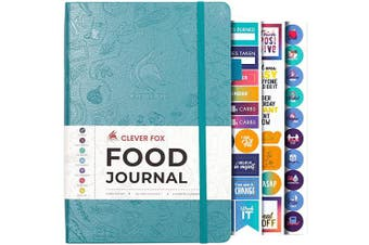 (A5 (15cm  x 21cm ), Aquamarine) - Clever Fox Food Journal - Daily Food Diary, Meal Planner to Track Calorie and Nutrient Intake, Stick to a Healthy Diet & Achieve Weight Loss Goals