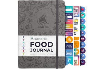 (A5 (15cm  x 21cm ), Grey) - Clever Fox Food Journal - Daily Food Diary, Meal Planner to Track Calorie and Nutrient Intake, Stick to a Healthy Diet & Achieve Weight Loss Goals