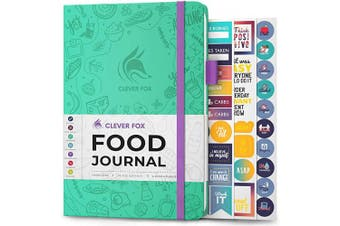 (A5 (15cm  x 21cm ), Turquoise) - Clever Fox Food Journal - Daily Food Diary, Meal Planner to Track Calorie and Nutrient Intake, Stick to a Healthy Diet & Achieve Weight Loss Goals
