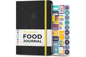 (A5 (15cm  x 21cm ), Black) - Clever Fox Food Journal - Daily Food Diary, Meal Planner to Track Calorie and Nutrient Intake, Stick to a Healthy Diet & Achieve Weight Loss Goals