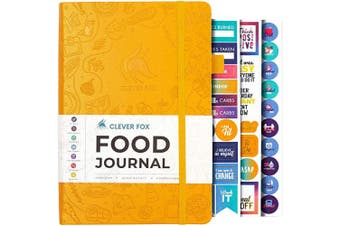 (A5 (15cm  x 21cm ), Amber Yellow) - Clever Fox Food Journal - Daily Food Diary, Meal Planner to Track Calorie and Nutrient Intake, Stick to a Healthy Diet & Achieve Weight Loss Goals