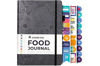 (A5 (15cm  x 21cm ), Silver Black) - Clever Fox Food Journal - Daily Food Diary, Meal Planner to Track Calorie and Nutrient Intake, Stick to a Healthy Diet & Achieve Weight Loss Goals