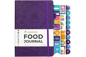 (A5 (15cm  x 21cm ), Purple) - Clever Fox Food Journal - Daily Food Diary, Meal Planner to Track Calorie and Nutrient Intake, Stick to a Healthy Diet & Achieve Weight Loss Goals
