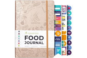(A5 (15cm  x 21cm ), Pearl) - Clever Fox Food Journal - Daily Food Diary, Meal Planner to Track Calorie and Nutrient Intake, Stick to a Healthy Diet & Achieve Weight Loss Goals