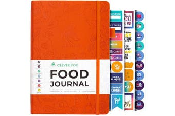 (A5 (15cm  x 21cm ), Orange) - Clever Fox Food Journal - Daily Food Diary, Meal Planner to Track Calorie and Nutrient Intake, Stick to a Healthy Diet & Achieve Weight Loss Goals