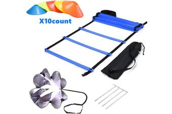 ETTECH Speed Agility Training Set - Agility Ladder with Carrying Bag, 10 Cones, Resistance Parachute, Exercise Equipment for Footwork, Sport Train, Soccer, Football, Basketball