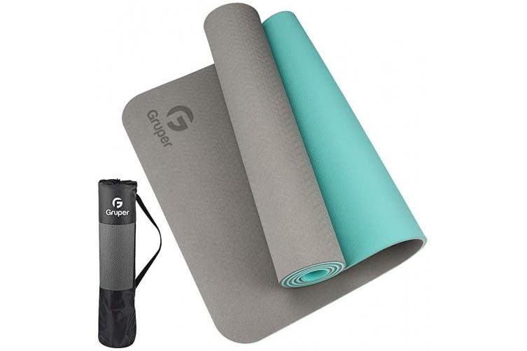Thickness-6mm(1/4 inch), Grey+Teal) - Gruper TPE Yoga Mat,Pro Yoga Mat Eco Friendly Non Slip Fitness Exercise Mat with Carrying Strap,Workout Mat for Yoga, Pilates and Floor Exercises - Kogan.com