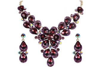 (Claret Violet Gold-tone) - Clearine Women's Wedding Bridal Crystal Teardrop Shape Petal Flower Statement Necklace Dangle Earrings Set