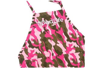 (Pink Camo Apron) - BBQ Grill Apron - #Dadlife - Funny Apron for Dad - 1 Size Fits All Chef Apron Cotton 4 Utility Pockets, Adjustable Neck and Extra Long Waist Ties - Pink Camo Colour