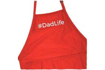 (Red Apron) - BBQ Grill Apron - #Dadlife - Funny Apron for Dad - 1 Size Fits All Chef Apron Cotton 4 Utility Pockets, Adjustable Neck and Extra Long Waist Ties - Red Colour