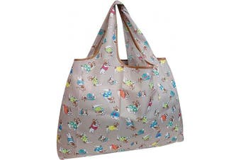 (Gray French Bulldogs) - allydrew Large Foldable Tote Nylon Reusable Grocery Bag, Grey French Bulldogs