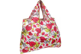 (Red Floral with Gray Birds) - allydrew Large Foldable Tote Nylon Reusable Grocery Bag, Red Floral with Grey Birds