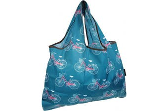 (Biycycles) - allydrew Large Foldable Tote Nylon Reusable Grocery Bag, Biycycles