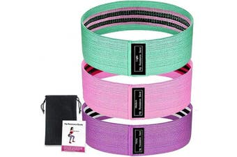 BUENOD Set of 3 Exercise Bands, Non Slip Resistance Bands for Legs and Butt, Workout Bands Booty Bands for Women