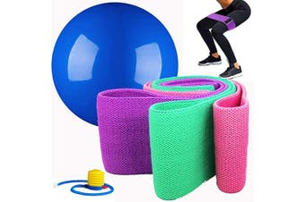 BOLYEE Resistance Bands & Exercise Ball for Legs and Butt, Fitness Equipment Set for Body Shaping, Exercise and Balance Training with Pump and Hip Band Carry Bag