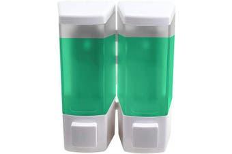 Ailelan Soap Dispenser, 500ML Capacity 2-Chamber Shower Dispenser, Wall Mounted Shampoo and Conditioner Dispenser, White
