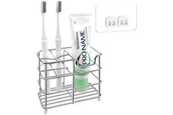 (Small) - Linkidea Stainless Steel Toothbrush Holder Wall Mounted with Self Adhesive, 5 Slots Family Toothbrush Toothpaste Holder Stand Wall Mount for Shower, Bathroom Organiser Storage Rack for Comb, Razor