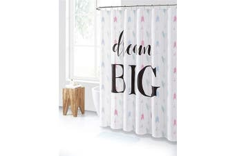(Blue Teal and Pink Dream Big) - PEVA Shower Curtain Liner Odourless, PVC and Chlorine Free, Biodegradable, Mildew Free, Eco-Friendly Size 72L (Blue Teal and Pink Dream Big)
