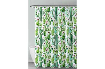(Green Blue Red and White Cactus Design) - PEVA Shower Curtain Liner Odourless, PVC and Chlorine Free, Biodegradable, Mildew Free, Eco-Friendly Size 72L (Green Blue Red and White Cactus Design)