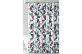 (Green Red and White Tropical Leaf Design) - PEVA Shower Curtain Liner Odourless, PVC and Chlorine Free, Biodegradable, Mildew Free, Eco-Friendly Size 72L (Green Red and White Tropical Leaf Design)