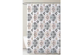 (Coral Gray Black and White Medallion Design) - PEVA Shower Curtain Liner Odourless, PVC and Chlorine Free, Biodegradable, Mildew Free, Eco-Friendly Size 72L (Coral Grey Black and White Medallion Design)