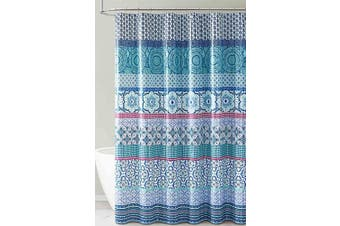 (Teal Aqua and White Floral Stripe Design) - PEVA Shower Curtain Liner Odourless, PVC and Chlorine Free, Biodegradable, Mildew Free, Eco-Friendly Size 72L (Teal Aqua and White Floral Stripe Design)