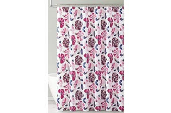 (Dark Purple and Magenta Floral Design) - PEVA Shower Curtain Liner Odourless, PVC and Chlorine Free, Biodegradable, Mildew Free, Eco-Friendly Size 72L (Dark Purple and Magenta Floral Design)