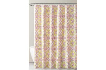 (Gray Pink and Yellow Kaleidoscope Design) - PEVA Shower Curtain Liner Odourless, PVC and Chlorine Free, Biodegradable, Mildew Free, Eco-Friendly Size 72L (Grey Pink and Yellow Kaleidoscope Design)